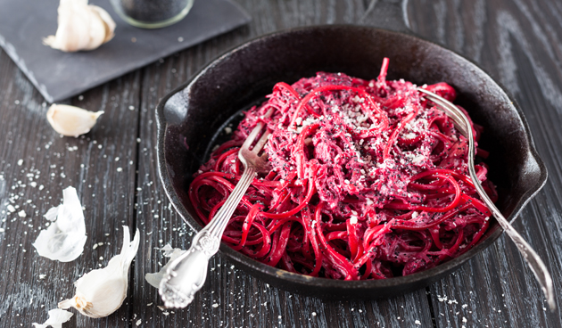 Rode bieten spaghetti
