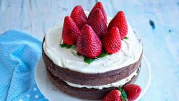 Recept chocoladetaart met aardbeien