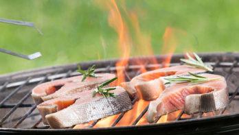 Recept zalm van de BBQ met rijstsalade
