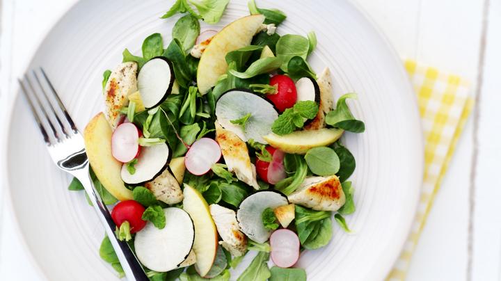 Tatsoi salade met kip